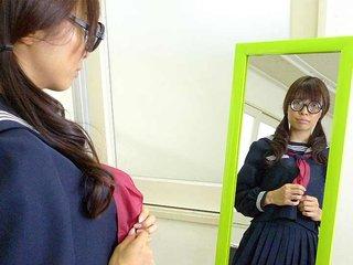 Azusa Misaki in uniform fucked at college