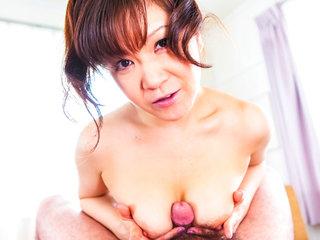Humungous boob Ichika Asagiri on her knees sucking a..