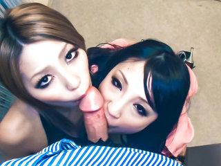 Sakura Kiryu  and her naughty buddy take on a naughty..