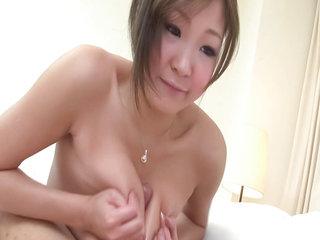Teen model Hiyoko Morinaga has her big knockers squeezed..
